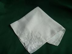 WHITE COTTON Handkerchief With Stitched Initial M by EauPleineVintage, $9.00