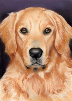Golden retriever pet portrait SOLD, painting by artist Ria Hills