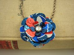 Recycled Soda Can Art  Pepsi Rose Necklace Upcycled by jillmccp,
