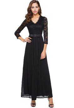 9c4f2aa093d Berydress Women s Vintage Floral Lace 3 4 Sleeve Evening Party Formal Dress  Chiffon Long Maxi Dress
