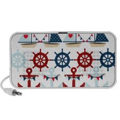 Summer Nautical Theme Anchors Sail Boats Helms iPod Speakers
