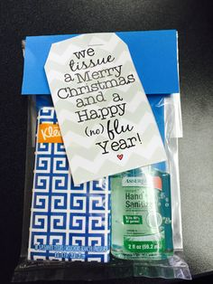 "I used this as a 12 Days of gifts for my co-workers but could easily be used a marketing giveaways for prospective residents that come into your office. Purchased a 3 pack of pocket size Kleenex and a 3 pack of small hand sanitizer from Dollar Tree. Put in a small clear bag with label that reads ""We TISSUE a Merry Christmas and a Happy (NO) FLU Year. For $2, you could make 3 gifts."