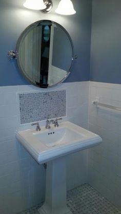 Bon New Pedestal Sink And Tile Backsplash