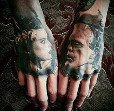 """Frankenstein's Monster & The Bride of Frankenstein"" Hand Tattoo's."