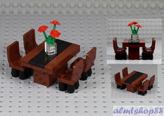 Details about LEGO - Formal Dining Table w/ 4 Chairs & Flowers Minifigure Home Room Furniture - Lego ideen - Lego Design, Legos, Lego Kitchen, Casa Lego, Lego Furniture, Furniture Chairs, Minecraft Furniture, Formal Dining Tables, Dining Chairs