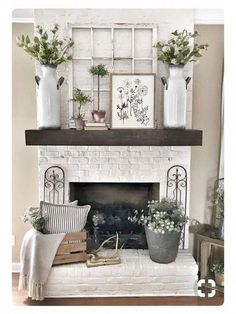Pretty Country Living Room Design Ideas With Fireplace Mantle 21 living Farmhouse Fireplace, Fireplace Mantle, Farmhouse Decor, Fireplace Ideas, Farmhouse Style, Fireplace Design, Modern Farmhouse, Above Fireplace Decor, Fireplace Decorations