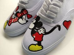 Hand painted Minnie Mickey mouse white vans.