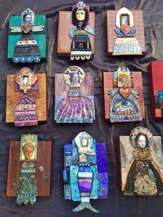 Mixed media--polymer clay, ephemera, found objects, etc--art doll plaques.Mika on PCDaily Polymer Clay Kunst, Polymer Clay Creations, Paper Dolls, Art Dolls, Matchbox Art, Found Art, Paperclay, Altered Art, Altered Tins