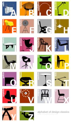 ALPHABET of DESIGN CLASSICS - kids room poster, great for learning design. Blog: astroandeddie.wordpress.com