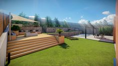Diseño 3d en Barcelona Barcelona, Porches, Sidewalk, Deck, Outdoor Decor, Home Decor, Garden Layouts, Astroturf, Exterior Design