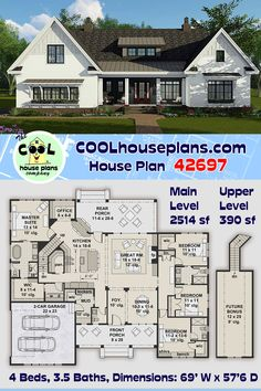 A farmhouse plan with over 2500 sq ft of heated living space. A 4 bedroom floor plan with an open layout and split bedroom design. This country design is a one floor home with a bonus space available above the garage for future expansion. This farmhouse has a basement option available (for an additional fee) if you need to increase the square footage. Two great covered porches will provide ample outdoor space to escape the hot sun. #houseplans #COOLhouseplans #homedesign #homeideas… 4 Bedroom House Plans, Family House Plans, New House Plans, Dream House Plans, Craftsman Exterior, Craftsman Farmhouse, Farmhouse Style, Building Design, Building A House