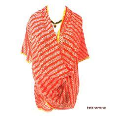 Kangaroo Batik blouse Indonesia-Small parang ORANGE.Handmade top attached long scarf.OOAK Bohemian blouse.Yoga.Hippie.Ethnic.Geometric.Batik