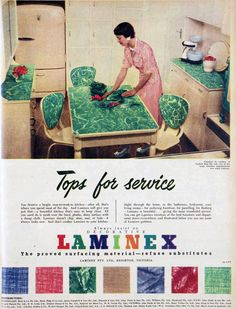 Laminex kitchen, 1951 **My Grandparents' kitchen table was this pattern in light red!!!