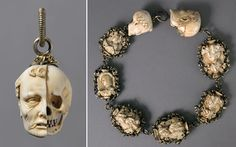 From the Heilbrunn Timeline of Art History at the Metropolitan Museum of Art, a 16th century memento mori rosary carved out of ivory featuring man on one side and skeleton on the other.