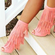 Head over Heels - Peep Toe Fringe Stiletto Booties Dream Shoes, Crazy Shoes, Me Too Shoes, Pumps, Stilettos, Sexy Heels, High Heels, Hot Shoes, Shoes Heels