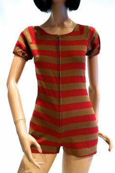 Genuine 60s TWIGGY style play suit // unworn deadstock with swing tag // striped stretch jersey // zip front
