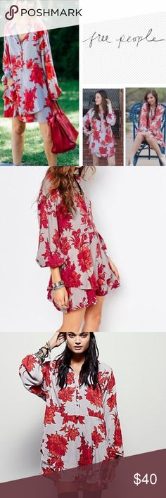 NWOT Free People Shirt Dress XS New never worn free people shirt dress. A little wrinkled from sitting in my closet but in perfect condition ❤️❤️❤️ size extra small Free People Dresses Long Sleeve