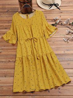 Polka Dot Print Elastic Waist Ruffle Sleeve Plus Size Casual Dress Stylish Dresses For Girls, Stylish Dress Designs, Casual Dresses, Short Dresses, Pakistani Fashion Casual, Indian Fashion Dresses, Fashion Outfits, Kurta Designs Women, Blouse Designs