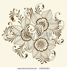Vector abstract floral elements in indian mehndi style. Abstract henna floral vector illustration. Design element. by GarryKillian, via Shut...