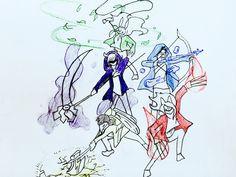 描いて見たby viola  私のヒーロー達 水→ケン 火→シン 草→リン 闇→タン 雷→ナン  このキャラクターの絵をあげてみた  私が描いた絵です。 タイトルはまだ決めてません。