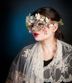 Flower Masquerade Mask Gemstones Venetian Mask by ElvenDesignArt, $315.00 Masquerade Party, Masquerade Mask Makeup, Mardi Gras Costumes, Couture Accessories, Mask Making, Costume Hats, Venetian Masks, Tiaras, Fascinator