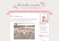 Responsive Blogger Template. Butterflies template. Premade. Blog design.