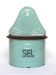 Enamelware VINTAGE FRENCH SALT BOX - pretty aqua green