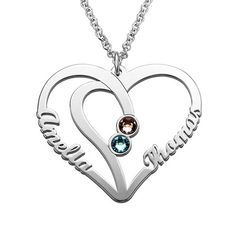 Dashing Women Silver 925 Necklaces Custom Two Names Birth Stone Necklace Intertwined Double Hearts Chain Couple Pendant For Mom Daughter Products Hot Sale Jewellery & Watches