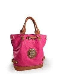 TheDapperTie Pink Leather Like Tote Handbag H 2235