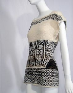 """Winter 2011 """"Gretchen"""" pullover. Cream and browns. Also comes in cream/reds and cream/charcoals."""