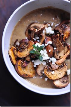 Vegan mushroom soup recipe. Healthy comfort food.