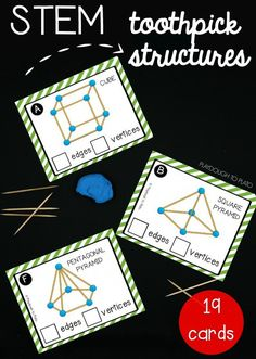 These 19 toothpick STEM structure cards help kids develop abstract thinking, design and build skills, and shape recognition and shape knowledge. Perfect for STEM Boxes or STEM centers! Stem Projects, Science Projects, Science Lessons, Défis Stem, Stem Structure, Kindergarten Stem, 3d Shapes Kindergarten, 2 Kind, E Mc2