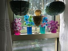 One of my window gardens, vintage lucite flowers and McCoy pottery