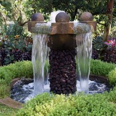 Turn your garden into a paradise with an outdoor garden fountain. And outdoor garden fountain can be a brilliant addition for your garden area. Patio Water Fountain, Backyard Water Fountains, Water Fountain Design, Landscaping With Fountains, Garden Fountains, Outdoor Fountains, Fountain Ideas, Fountain House, Fountain Garden