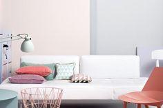 Zartes Rosa und Grau - Pastellfarben zu Hause