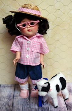 "GiNNy'S ~Goin' on a Hayride!~ 4 PC hand tailored outfit for Ginny in PINK! Fits Muffie, Ginger, and Wendy 7.5-8"" dolls too. Jean shorts, matching shirt, hat with hatband, and glasses. This even fits Modern Ginny 8"" dolls too! On my website now karmelapples.com"