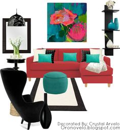 red couch with turquoise