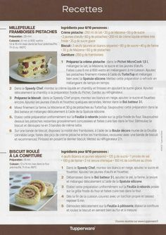 Fiche recette Feuille silicone - Tupperware 2/2 :  Millefeuille framboise pistache, roulé à la confiture Tupperware Pressure Cooker, Slow Cooker, Biscuits, Cheesecake, Food And Drink, Nutrition, Bread, Snacks, Baking