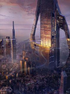A style future city, setting inspiration ArtStation - Scifi city, Marina Beldiman Fantasy Anime, Fantasy City, Fantasy Places, Sci Fi Fantasy, Cyberpunk City, Arte Cyberpunk, Futuristic City, Futuristic Architecture, Arte Sci Fi