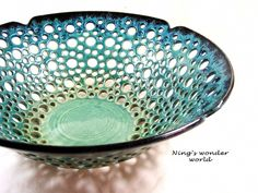 Pottery fruit bowl, ceramic fruit bowl, lace design, large center piece, teal turquoise pottery- Neals Wonder World