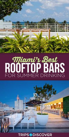 Miami's 12 Best Rooftop Bars for Summer Drinking - USA Destinations Miami Bar, South Beach Miami, Miami Florida, Florida Beaches, South Florida, Florida Keys, Vacation Deals, Vacation Destinations, Dream Vacations