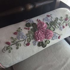 Bolster-close-up. #livingroom #lifestyle #pillow #bolster #craft #handmade #rose #flowers #floral Embroidered Cushions, Ribbon Embroidery, Cushion Covers, Floral Tie, Rose Flowers, Pillows, Handmade, Crafts, Lifestyle
