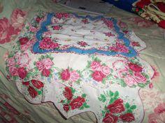 Vintage Roses 3  Handkerchief/hankie  Hankie Chic ex by raggedy10, $11.00