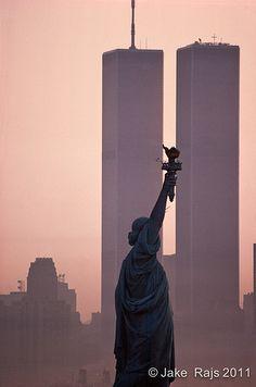 Statue of Liberty Between Twin Towers, World Trade Center at sunrise, New York City, New York | Jake Rajs (2011)