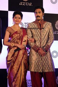 Latest Saree Designs: sneha in gold colour kanchipuram bridal silk saree