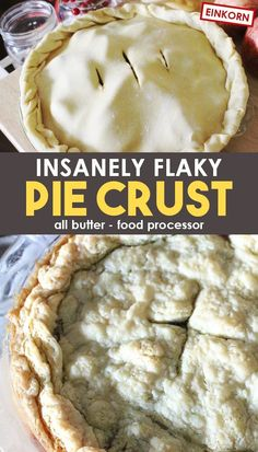 A homemade pie crust recipe for the best flaky, all butter pie crust you've ever had! Unlimited uses, from fruit pies, to chicken pot pie, and more! This pie crust uses a food processor for an easy hands-free perfect result! Try it today with einkorn or any wheat! #Recipes #FromScratchRecipes #Einkorn