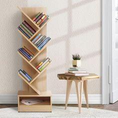 Buy Display Shelf Tree Bookshelf Book Storage Rack Bookcase White Online in Australia Tree Bookshelf, Simple Bookshelf, Large Bookshelves, Cheap Bookcase, Bookcase White, Bookcases, Book Display Shelf, Book Storage, Storage Rack
