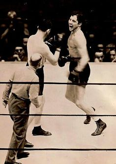 Max Baer taunts James J Braddock, Baer would go on to lose the heavyweight championship to Braddock by unanimous decision