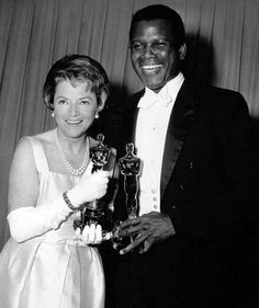 """1964 Oscars: Annabella accepting Best Actress 1963 Oscar for Patricia Neal for """"Hud"""") & Sidney Poitier, Best Actor 1963 for """"Lilies of the Field"""""""