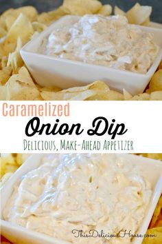 Caramelized Onion Dip is a great appetizer for barbecue bbq, brunch, or football game day snack. Easy to make ahead and so delicious! Serve with chips, veggies, or on crackers. Dip Recipes, Grilling Recipes, Appetizer Recipes, Cooking Recipes, Brunch Recipes, Onion Recipes, Sauce Recipes, Make Ahead Appetizers, Salads